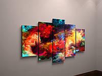 Картина модульная абстракция. Картина из 5 частей. Яркая интерьерная картина-абстракция.