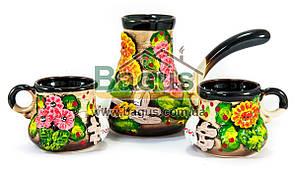 Набор кофейный 3 пр. (турка керамическая малая + 2 чашки) цветная керамика Славянск