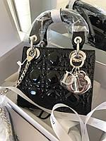 Стильная лаковая мини-сумочка LADY DIOR MINI WITH CHAIN