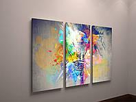 Модульная картина из 3-х частей Абстракция Лампочка Брызги Красок 90х60