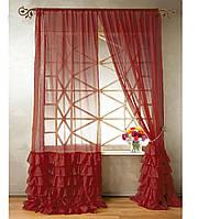 """Тюль """"Диана"""" с декоративным рюшем по низу, бордовый. 2 м х 2,75 м"""
