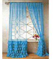 """Тюль """"Диана"""" с декоративным рюшем по низу, голубой. 2 м х 2,75 м"""