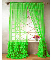 """Тюль """"Диана"""" с декоративным рюшем по низу, яркая зелень. 2 м х 2,75 м"""
