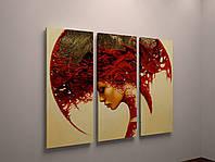Картина на холсте Абстракция Девушка Бордовый цвет 90х60 из 3-х частей