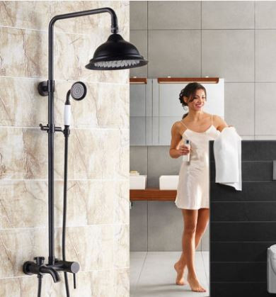 Душевая стойка черная для ванной комнаты со смесителем краном лейкой и верхним душем