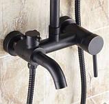 Душевая стойка черная для ванной комнаты со смесителем краном лейкой и верхним душем, фото 3