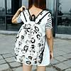 Школьный черно-белый рюкзак Совы, фото 2