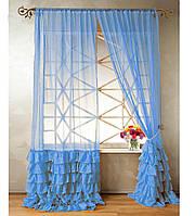 """Тюль """"Диана"""" с декоративным рюшем по низу, светло-голубой. 2 м х 2,75 м"""