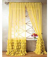 """Тюль """"Диана"""" с декоративным рюшем по низу, желтый. 2 м х 2,75 м"""