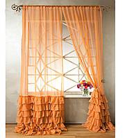 """Тюль """"Диана"""" с декоративным рюшем по низу, светло-оранжевый. 2 м х 2,75 м"""