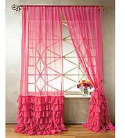 """Тюль """"Диана"""" с декоративным рюшем по низу, ярко-розовый. 2 м х 2,75 м"""