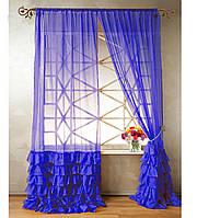 "Тюль ""Диана"" с декоративным рюшем по низу, синий. 2 м х 2,75 м"