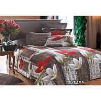 Постельное белье семейное с красными цветами