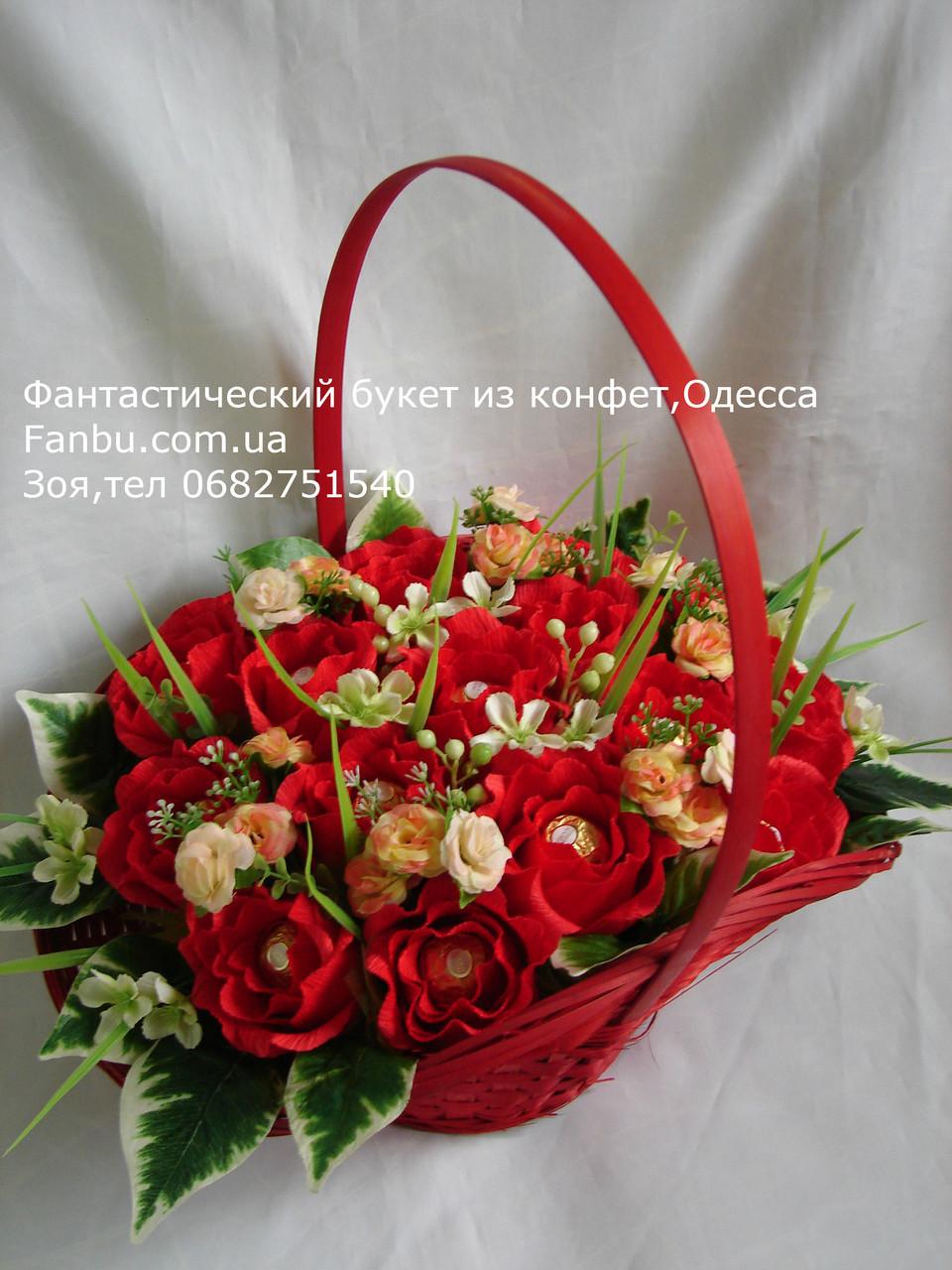 """Букет красных роз из конфет""""Герцогиня""""№15, фото 1"""