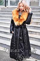 Пальто зимнее, тёплое. Мех - лиса, натуральный! р-ры: S,M,L. 9009