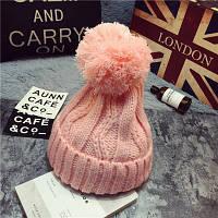 Модная женская вязанная шапка с вязаным помпоном розового цвета