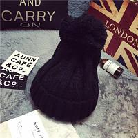 Модная женская вязанная шапка с вязаным помпоном черного цвета