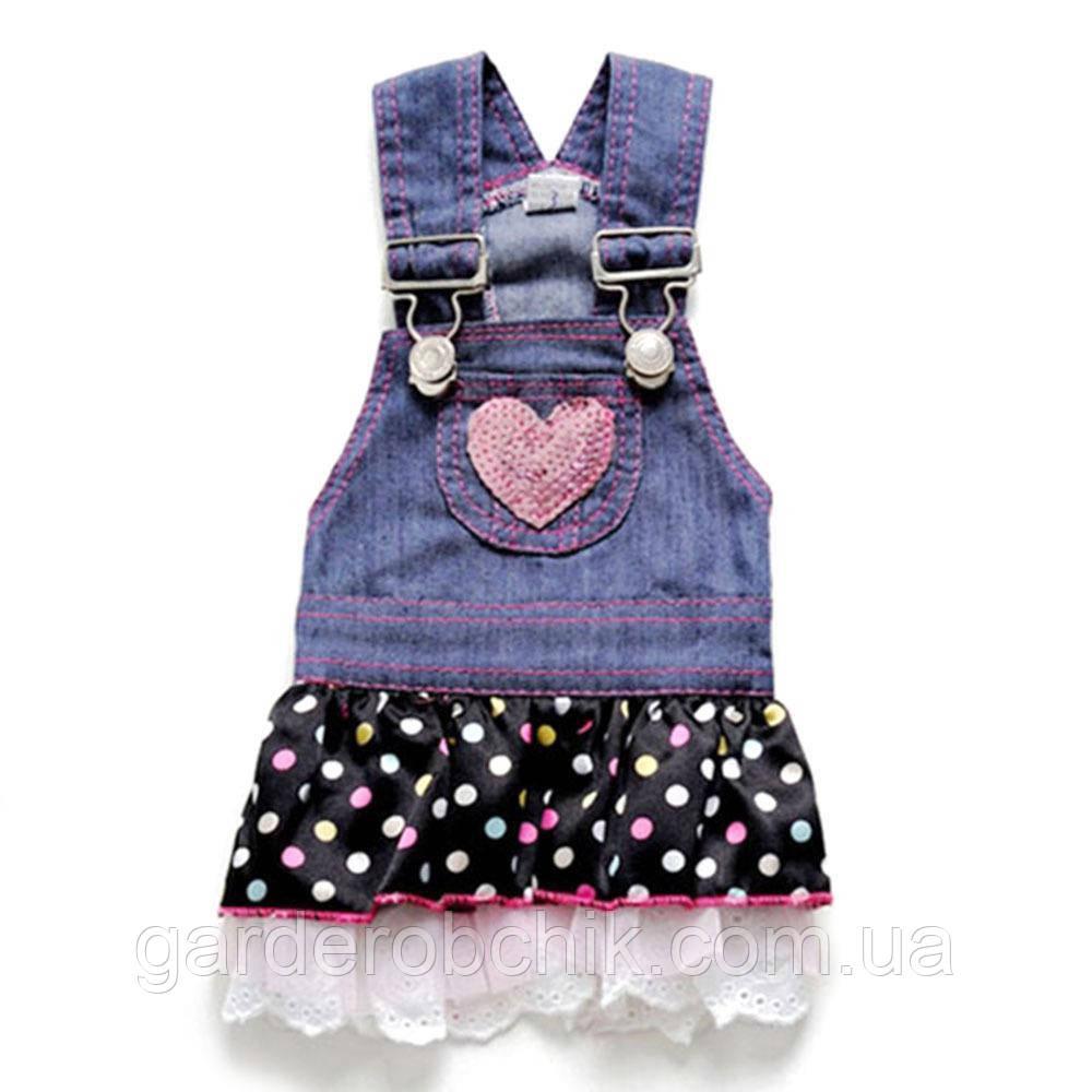 Платье джинсовое для собаки с сердечком. Одежда для собак