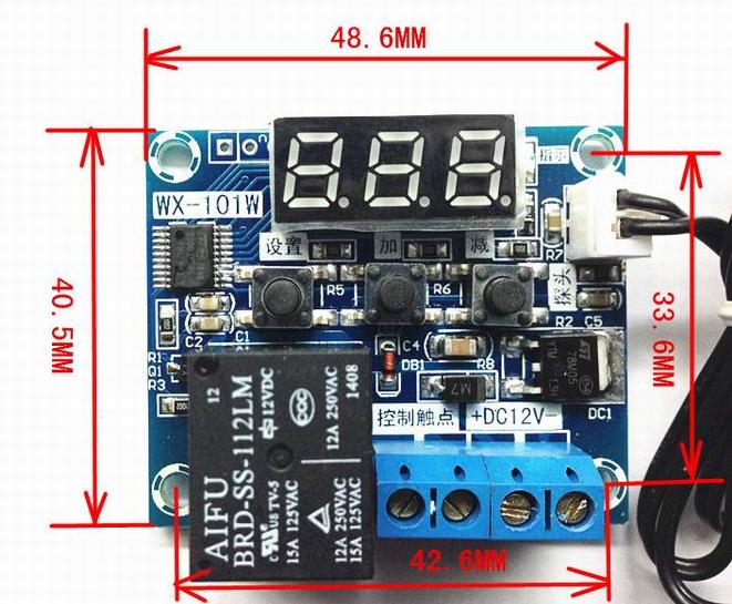 WX-101W Терморегулятор,термостат,Реле -50 - +110 / DC 5V/12V