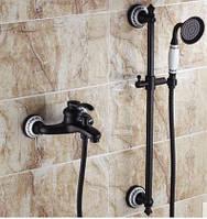 Смеситель кран черный с лейкой для ванной комнаты, фото 1