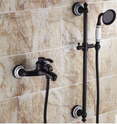 Змішувач чорний з лійкою для ванної кімнати 0159