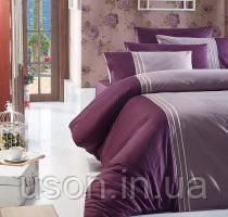 Комплект постельного белья ранфорс de lux First Choice евро размер  Craze Leylak