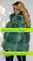 """Стильный полушубок из финского песца травяного оттенка """"Эшли"""" Оптовые и розничные цены уточняйте"""