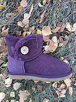 Женские замшевые мини-угги из овчины фиолетовые,39