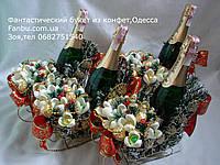 """Новогодние санки с шампанским и конфетными подснежниками""""12 месяцев"""""""