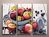 Модульная картина настенный декор для кухни Фрукты Персики Современный натюрморт Сочные ягоды 90х60