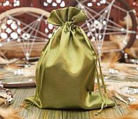 Мешочек из сатина оливковый (14,5х19,5 см)