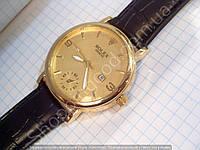 Часы Rolex B85 мужские золотистые на черном ремешке из кожзама кварцевые диаметр 43 мм копия, фото 1