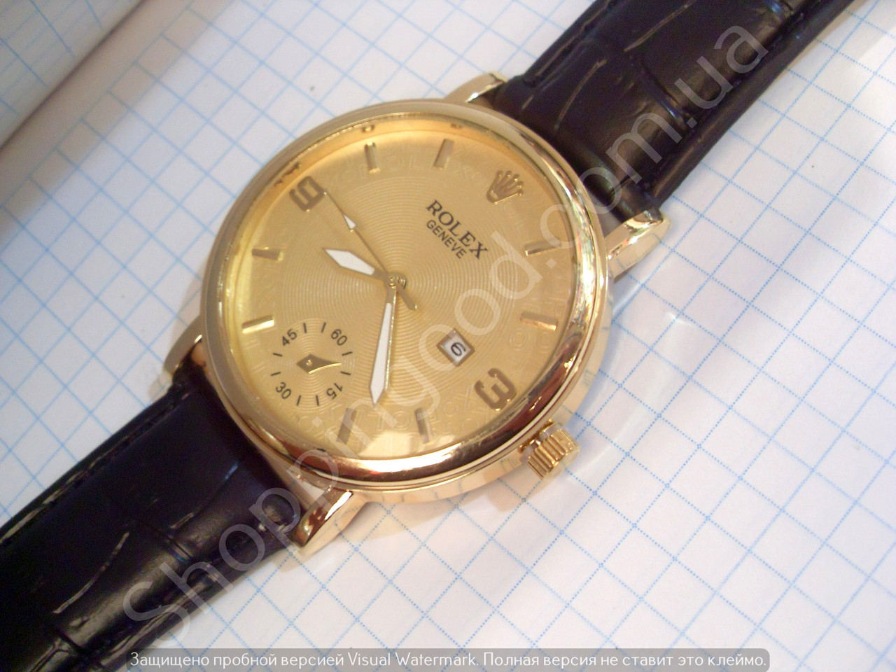 Часы Rolex B85 мужские золотистые на черном ремешке из кожзама кварцевые с  календарем диаметр 43 мм 2419c10a77a