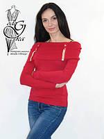 Женские свитера с воротником хомутом красного цвета Натали02