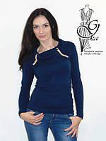 Женские свитера с воротником хомутом темно-синего цвета Натали03
