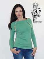 Женские свитера с воротником хомутом фисташкового цвета Натали04