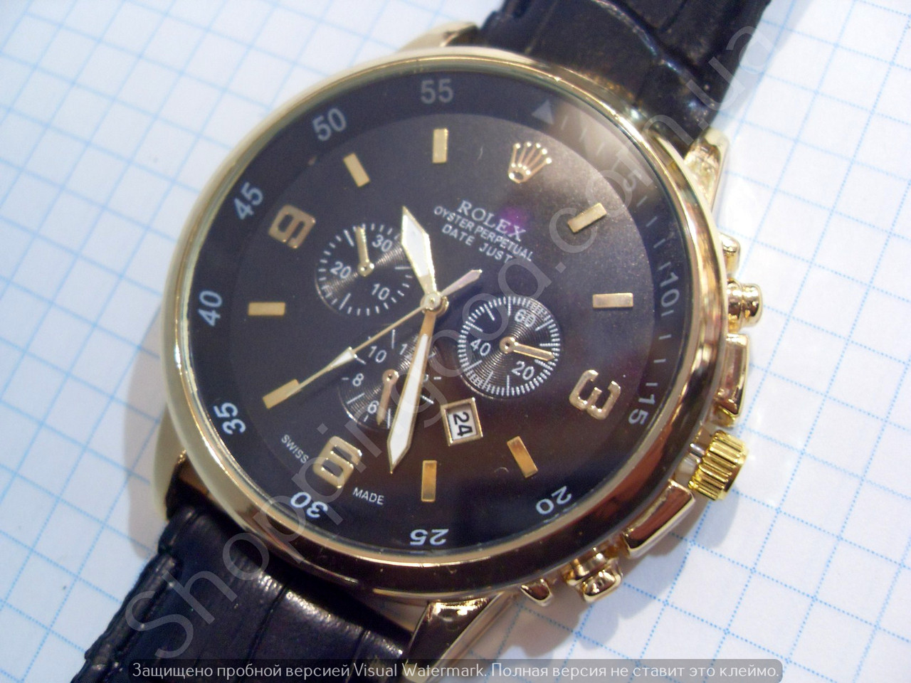 Часы Rolex Oyster Perpetual 6716 мужские золотистые на черном циферблате  кварцевые с календарем диаметр 45 мм aa77d7cb76f