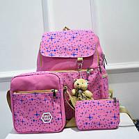 Школьный рюкзак в звездах из холста 3 в 1