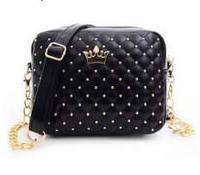 Женская сумочка с короной, черный цвет