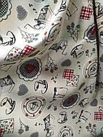 Ткань для штор и скатертей Чашка кофе, фон кремовый