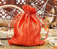 Мешочек из сатина жатый красный (14,5х19,5 см)