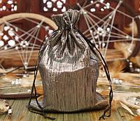 Мешочек из сатина жатый серый (14,5х19,5 см)