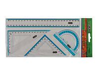 Набір лінійок ZiBi 5681 на 4 предмета (лінійка 25см, транспортир, 2 трикутника) (1/24)
