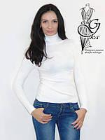 Водолазка с длинным рукавом с шерстяной ниткой белого цвета