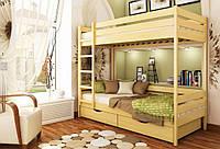 Кровать Дуэт тм Эстелла 80х190/200, №102 Бук натуральный (Щит), фасад+ящики из дерева (Щит)