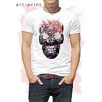 Футболка мужская белая рисунок Skull Silhouette