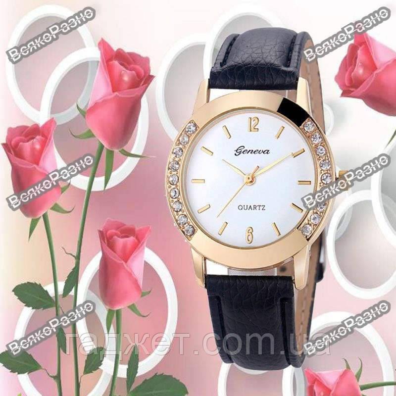 Женские часы Geneva Relojes Mujer черного цвета.