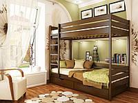 Кровать Дуэт тм Эстелла 80х190/200, №101 Тёмный орех (Бук Массив), фасад+ящики из дерева (Массив)