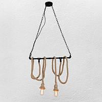 Потолочный подвесной светильник Loft hand-made [ Pipe Jute Lamp -2 ]