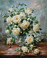 """Набор алмазной вышивки (мозаики) цветы """"Букет белых роз"""". Художник Albert Williams"""